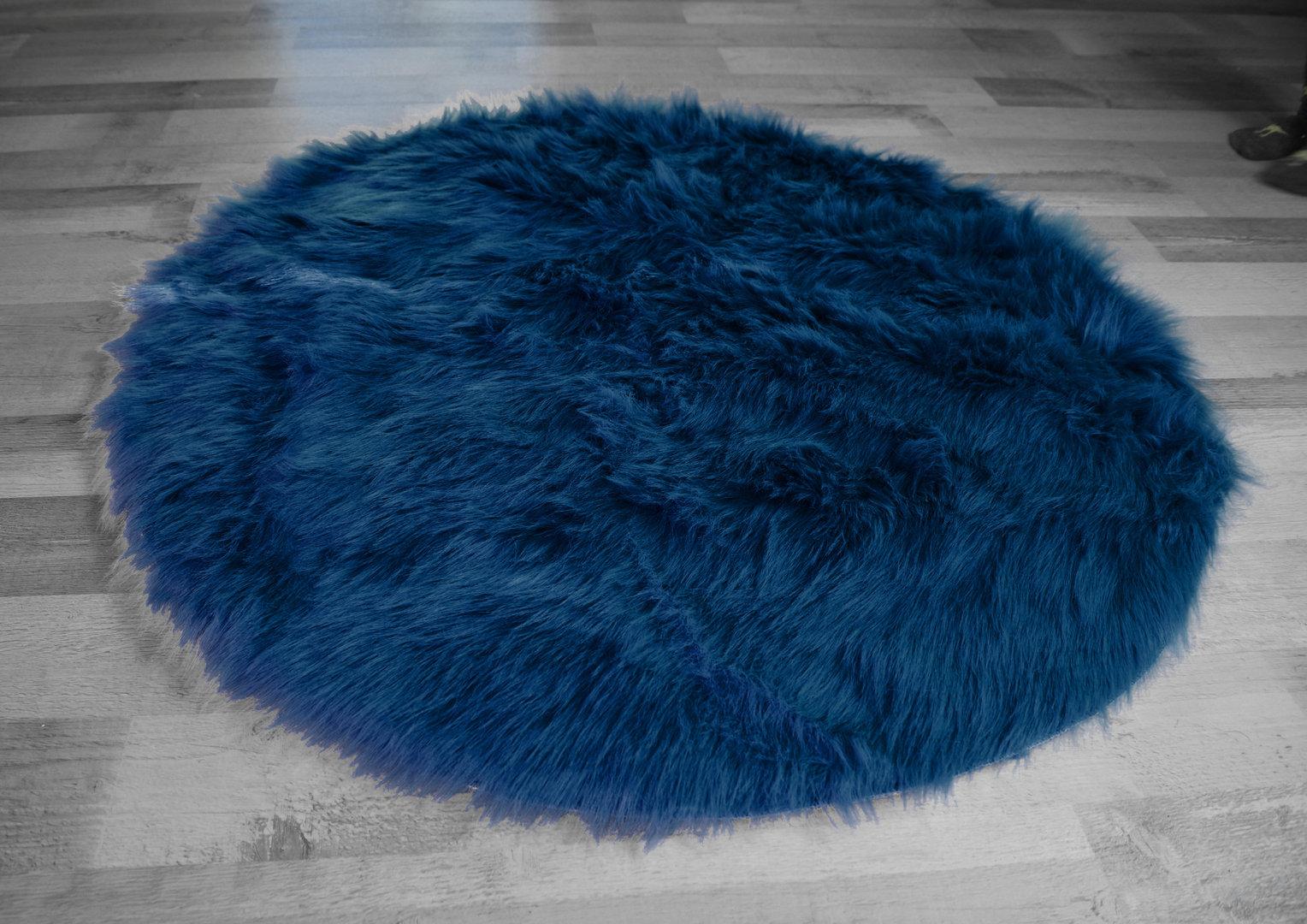 Kinderteppich dunkelblau  Stil Hochflor Shaggy Teppich Ameiny Colours